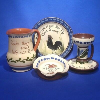 Vintage LONGPARK DEVON MOTTO WARE - PLATE, ASHTRAY, CANDLE STICK + SCANDY JUG