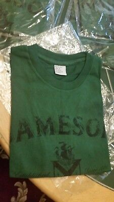 New Jameson Irish Whiskey Green T Tee Shirt Green Black Lettering Ladies Large