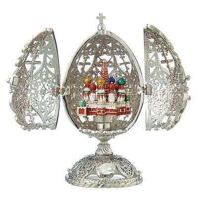 Decorative Faberge Carved Egg Moscow St-Basil Cathedral 4.3'' 11cm silver color