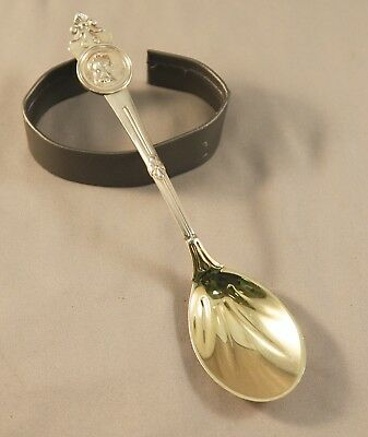 "Gorham Tiffany 1864 Medallion Sterling Silver Gilded 5.75"" Spoon Mono. & Dated"