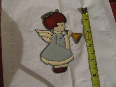 Angel Suncatcher Stained Glass-style window hanging