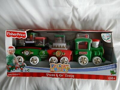 New Old Stock 1994 Fisher Price Large Holiday Peek A Blocks Press & Go Train