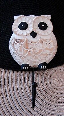 Carved White Washed Wooden Owl Hanger Wall Decor Hook World Market New