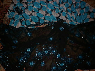 Vintage Glorious Indian Sheer Sequin Sari Excellent Condition