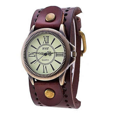 MINILUJIA 70'S Vintage Men Watch Bronze Big Face Dial with Genuine Leather Brand