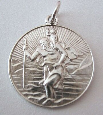 Genuine Solid 925 Sterling Silver St Saint Christopher Travel Pendant Gift