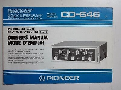 Pioneer Car Stereo Multi-Channel Electronic Crossover Network( Manual Only)