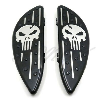 Black Skull Driver Stretched Floorboard For Harley Touring Softail FL Dyna FLD