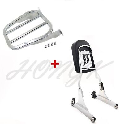 Chrome Flame Detachable Sissy Bar Backrest & Luggage Rack for Harley Softail FLH