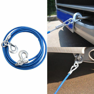 4M 5Tons Car Tow Cable Towing Strap Rope with Hooks Emergency Heavy Duty