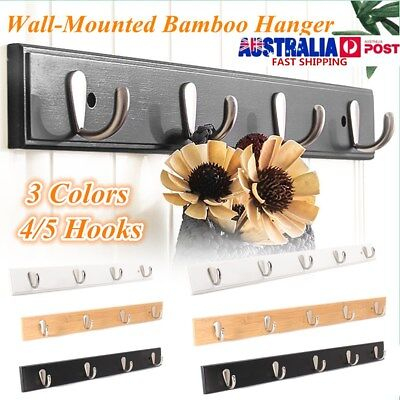 Wall Hanger Coat Rack Wall-Mounted Bamboo Matel Hook Kitchen Hanging Rack Holder