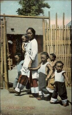 Young China - Mother & Children Published in Shanghai c1910 Postcard  chn