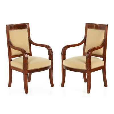 Pair of French Empire Style Early Antique Carved Mahogany Arm Chairs