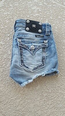 Miss Me Shorts-Front Flowers-Girls Size 10