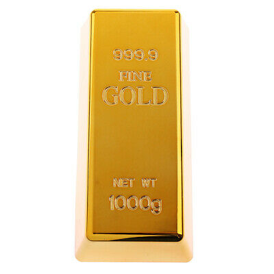 Fake Fine Gold Bullion Bar Paper Weight Door Stop 6'' Prop Brass Polished