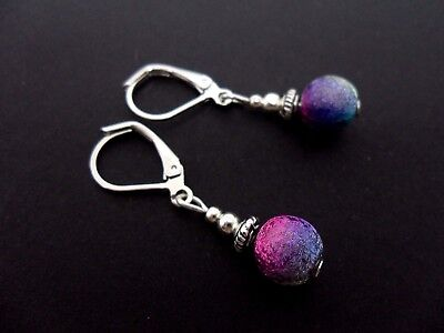 A Pair Cute Little Silver Plated Rainbow Bead Leverback Hook Earrings. New.
