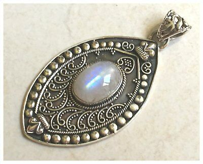 925 Sterling Silver BLUE FIRE MOONSTONE Semi Precious Gemstone Pendant P1308
