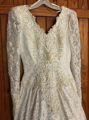 Vtg Wedding Dress Sequin Beads Lace Pearls Long Sleeve Buttons Train Bridal Gown