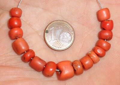 9mm Perle Corail Ancien Maroc Antique Berber Coral Bead Necklace Morocco Africa