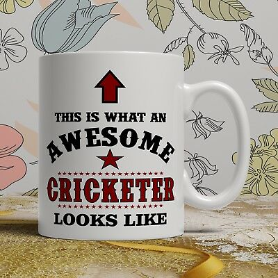 Awesome Cricket player birthday gift mug for him, her funny novelty present cup