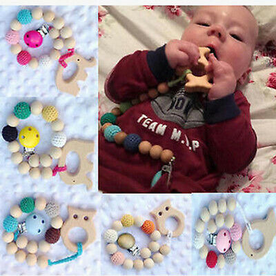 Baby Favor Toy - Wooden Crochet Beads Teether Pacifier Clip Animal Nursing Rings