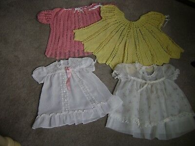 Lot Of 4 Vintage Baby Dresses Antique 1940's Handmade Crochet Dresses Children's