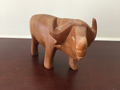 Vintage Hand Carved Wood Water Buffalo Sculpture Figurine