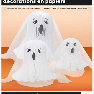 3 Cute Honeycomb Centerpiece Ghosts Halloween Decoration