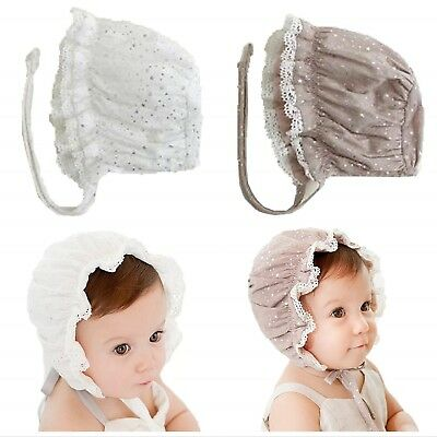 Cotton Baby Girl Caps white Lace Bonnet Sleep Caps Lace up Kids Hat