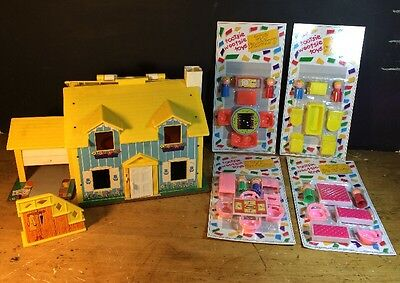 Vintage Fisher Price Play Family Doll House Blue Cottage #952 Tootsie Wootsie x4
