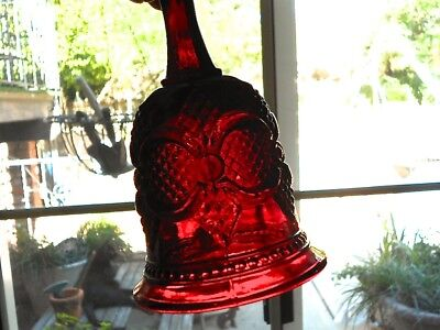 Avon 1876 Cape Cod Collection Ruby Red Glass HOSTESS BELL 6.75 inch Free Ship