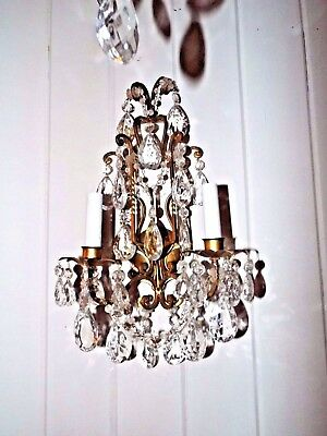 Antique 1940's Victorian Style Brass Wall Sconce w 28 Crystals FREESHIP