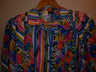 Vintage Bright Print Womens Shirt Size Large Excellent Condition
