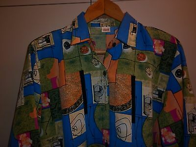 VINTAGE 1950s STYLE PRINT WOMENS SHIRT SIZE LARGE EXCELLENT CONDITION