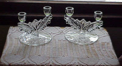 Art Deco Clear Glass Candlesticks Pair Etched Winged Fan Design 30's Cambridge
