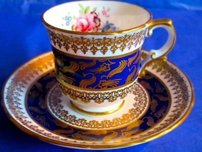 Hammersley & Co Gorgeous Cobalt Blue Gold Flowers Bone China Cup & Saucer