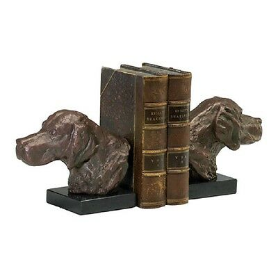 Hound Dog Bookends Bronze Finish Cast Iron On Marble Book Ends 02847 Cyan Design