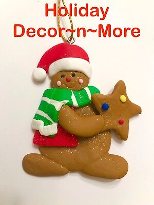 Gingerbread Boy Clay Cookie Xmas Tree Ornament Star Candy Decor Scarf New Hat