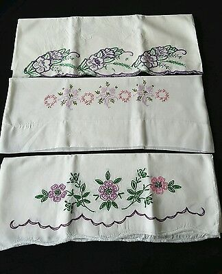 Vintage Embroidered Purple Flowers Pillowcase Lot of 3