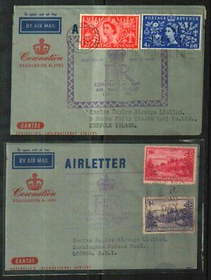 Norfolk Island-Gb Matched Pair 1953 Coronation Flight Airletters