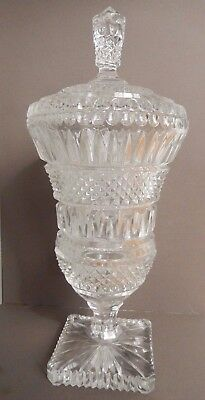 Vintage Apothecary Pharmacy Cut Crystal Glass Jar Lid Drug Store URN Candy Dish