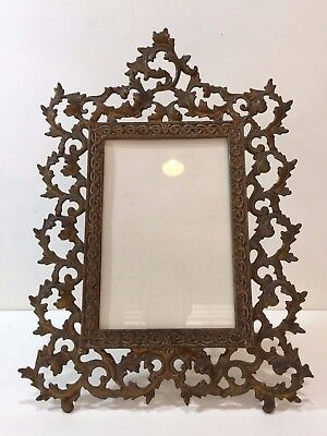 "Antique Victorian Gilt Bronze Large Photo Frame, 6"" x 9"" (Image), 12"" x 16 1/2"""