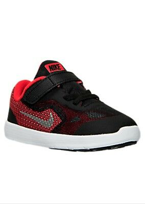 Boy's Kid's Nike Revolution 3 Athletic Running Shoes Black Red toddler size 5