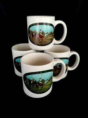 Polo Ralph Lauren Coffee Mugs Equestrian Horses Vintage Lot of 4