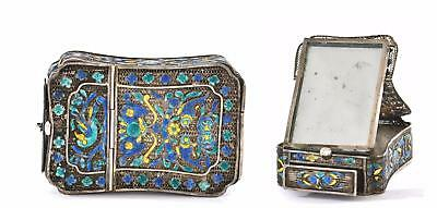 Early 20C Chinese Silver Enamel Filigree Mirror Compact Box Fish & Bird
