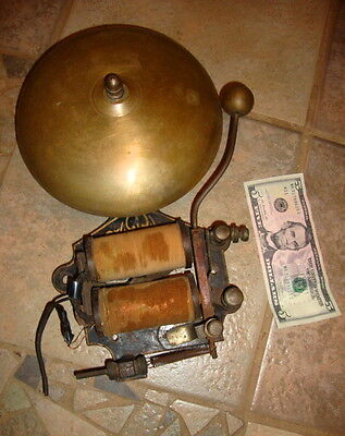 """Huge 1800s Electric BELL, 14"""" Tall, Boxing? Fire? School? Exposed Windings"""