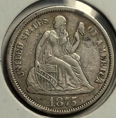 1875-S Seated Dime ... F-VF ... circulated specimen ... some scratches