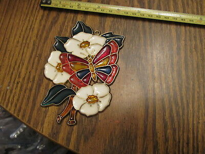 Butterfly & Flower Suncatcher Stained Glass-style window hanging