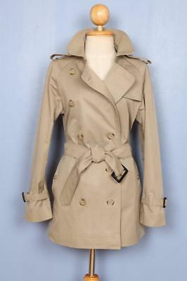 Womens BURBERRY Double Breasted Short TRENCH Coat Mac Beige 8/10
