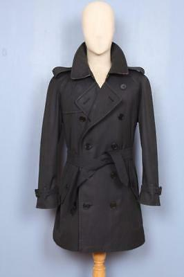 Mens BURBERRY Double Breasted Short TRENCH Coat Mac Navy Size 38/40
